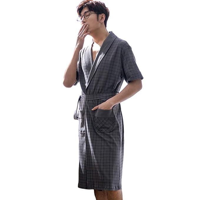 Men/'s Cardigan Bathing Nightgown Long Sleeve V-neck Pajamas Home Sleepwear New