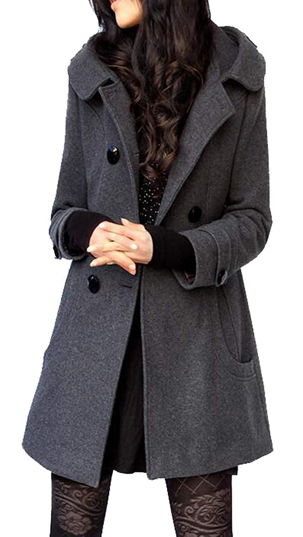 Grey Jofemuho Womens Hooded Slim Fit Double Breasted Solid Wool Blended Trench Pea Coat Outwear