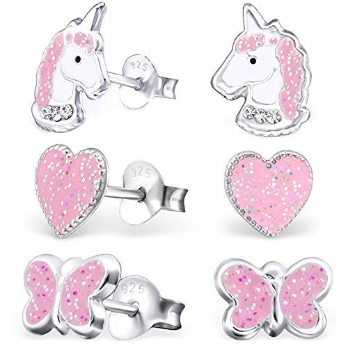gh1a 3pares purpurina Pendientes Unicornio + Corazón + Mariposa 925plata auténtica niña niños pendientes