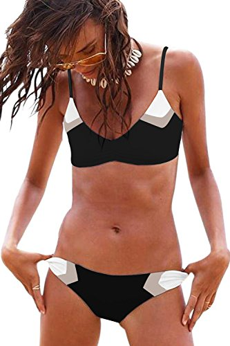Womens Bathing Suit Swimsuits for Women Triangle Sexy Bikini Set Splicing Halter String Swimwear