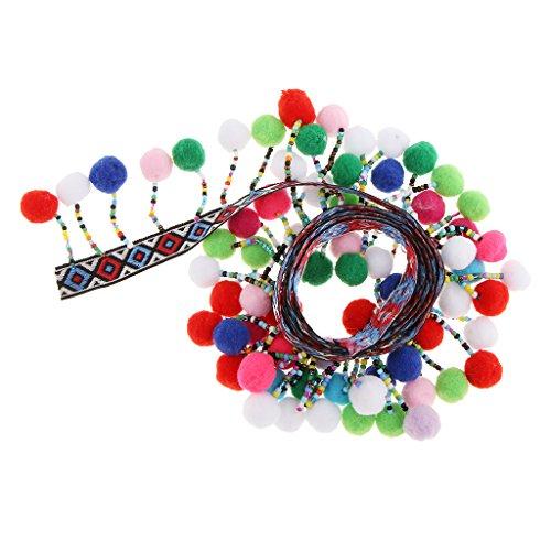 (MonkeyJack 1 Yard Ethnic Style Rainbow Pom Pom Ball Bobble Lace Tassel Ribbon Fringe Trim DIY Sewing Fabric Craft Handmade Decorative Jewelry )