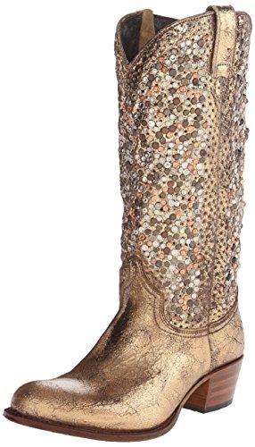 FRYE Women's Deborah Studded Tall Western Boot, Gold, 6 M US ()
