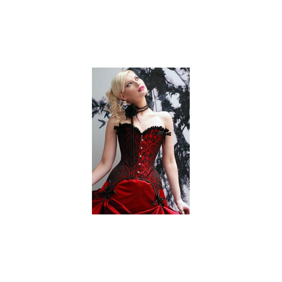 Glamorous Red Strapless Shadow Bustier Dress in a black classiscal floral detailed design with lace trimmed edges top with ribbon design on the top and bottom corner with hook and eye front closure.
