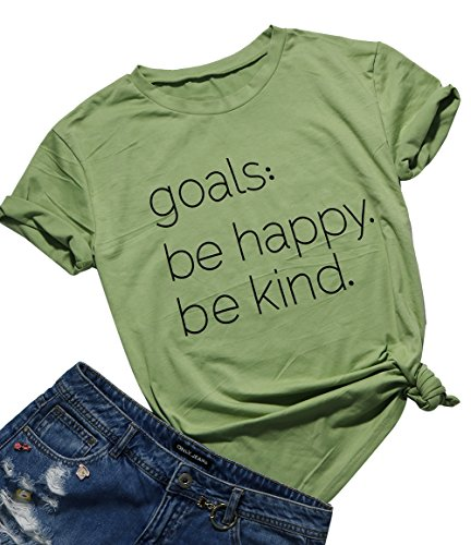 Be Happy Be Kind T-Shirt Women's Letter Print Funny Cute Mom Tee Tops Blouse Size XL (Green)