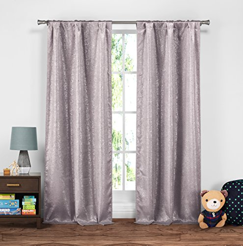 Duck Curtain Panel - Lala + Bash Maddie Metallic Textured Insulated Blackout Room Darkening Window Curtain Set of 2 Panels, 37 X 84 Inch, Lavender Purple, 2 Piece