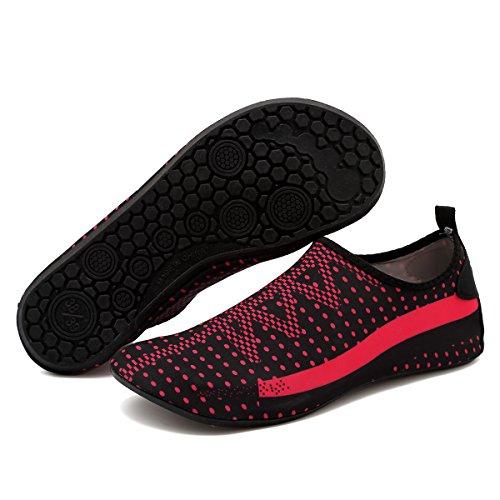 Cior Hommes Et Femmes Pieds Nus Peau Aqua Chaussures Anti-dérapant Multifonctionnel Chaussures Deau Pour Plage Piscine Surf Yoga Exercice Red001