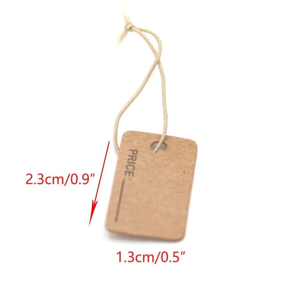 Chiloskit 100pcs 2,3/cm gioielli artigianali prezzo tag etichetta di carta kraft con corda elastica