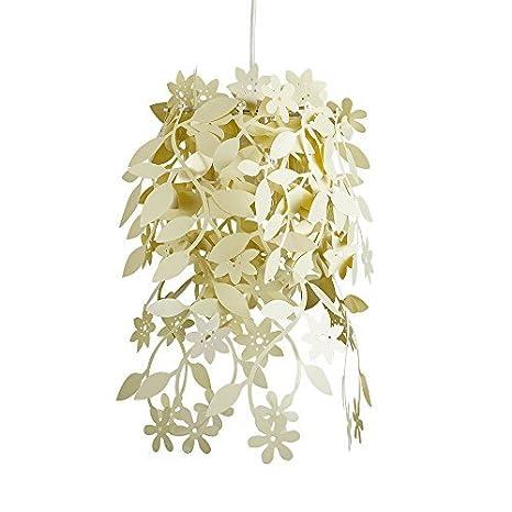 MiniSun - Preciosa pantalla para lámpara de techo con flores y plantas - color crema