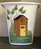 Primitive Country Decor Hand Painted Old Fashioned Outhouse with Rose Bushes Bathroom Trash Can 2.5 Gallon