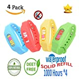 Mosquito Repellent Bracelets Pest Control - Natural Essential Oil Non Toxic Waterproof Anti Insect & Bug Repellent Band, DEET Free Safe for Kids Adults, Camping Hiking Traveling Use - 4 Pcs