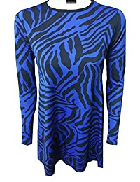 Women Zebra Print Long Sleeve Swing Dress Ladies Flared Skater Stretchy Mini Top
