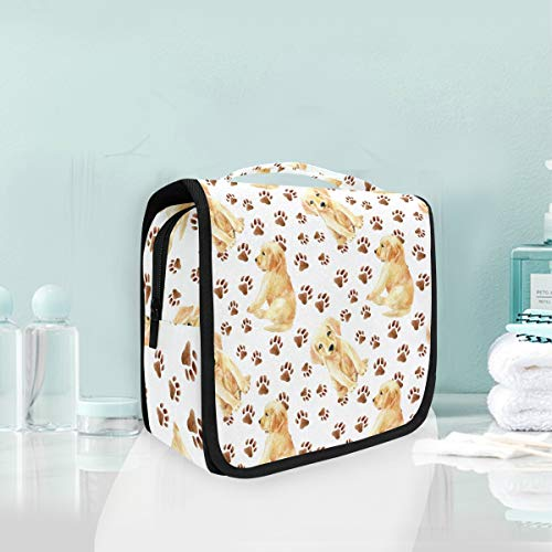 Makeup Bag Animal Paw Prints Cute Dog Puppy Cosmetic Portable Travel Hanging Toiletry -