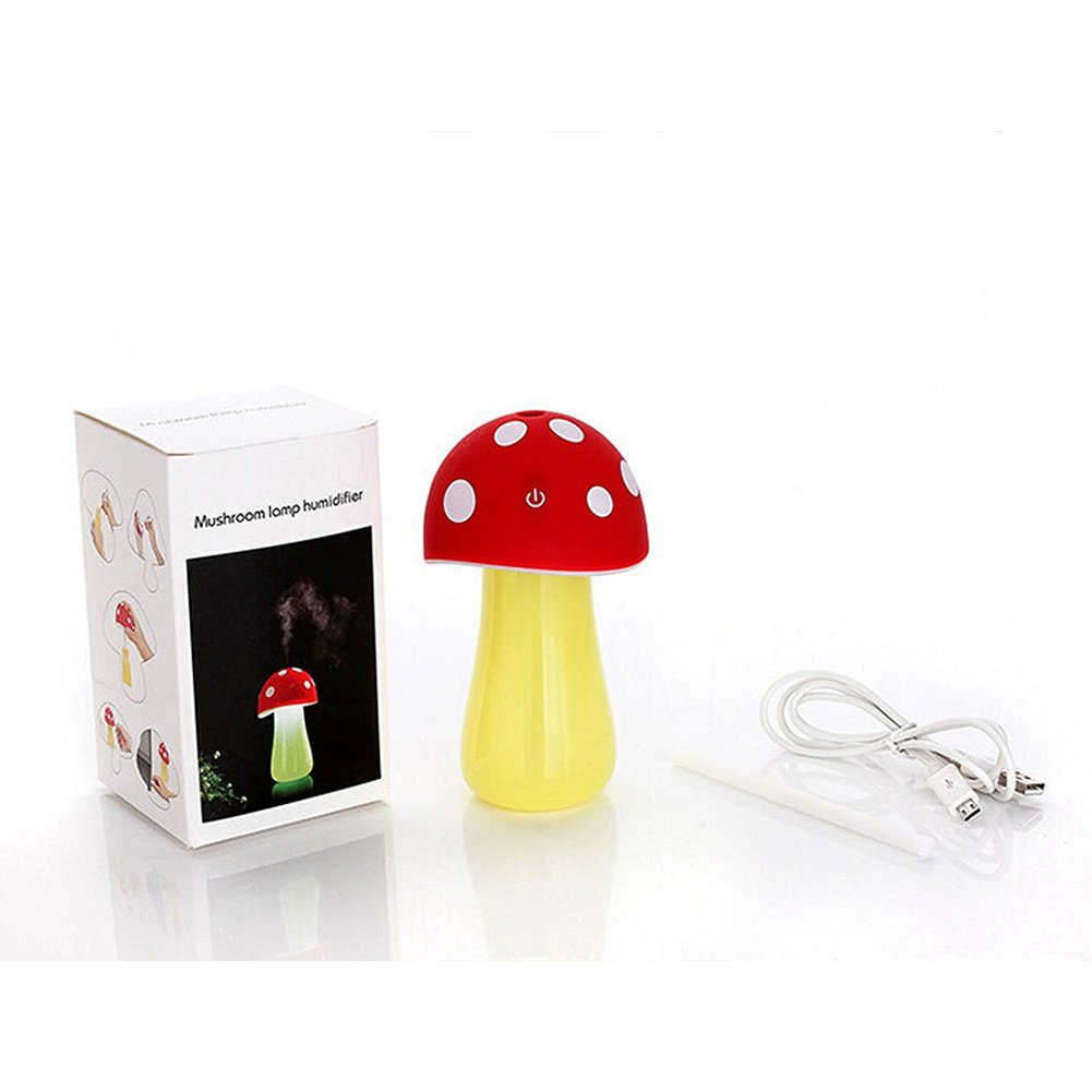 Topbeu Creative Mushroom Shape Ultrasonic Cool Mist USB Baby Room Bedroom Spa Car Humidifier with Auto Shut-off Function (Red) by Topbeu (Image #8)