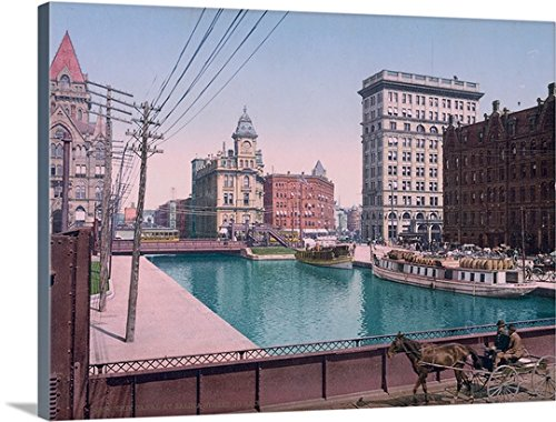 The Henry Ford Premium Thick-Wrap Canvas Wall Art Print entitled Erie Canal at Salina Street Syracuse - Canal 365 Street
