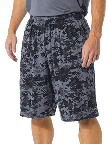 A4 N5322 10 in. Adult Printed Camo Performance Short - Graphite, Medium