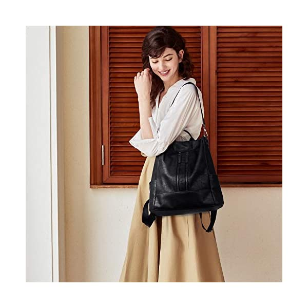 BROMEN Women Backpack Purse Leather Anti-theft Travel Backpack Fashion Shoulder Handbag 2