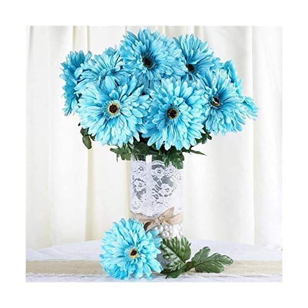 Efavormart 28 Artificial Gerbera Daisy Bushes for DIY Wedding Bouquets Centerpieces Arrangements Party Home Decorations – Turquoise