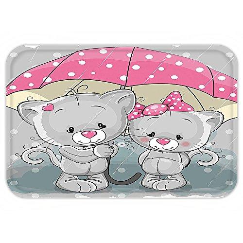 College Partner Costumes (Kisscase Custom Door MatCartoon Decor Collection Partner Kittenwith Umbrella under the Rain Cute Couple Love Romance Artsy Image Grey Pink White)