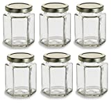 Nakpunar 6 pcs , 6 oz Hexagon Glass Jars for Jam, Honey, Wedding Favors, Shower Favors, Baby Foods, DIY Magnetic Spice Jars