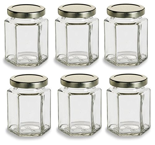 Nakpunar 6 pcs , 6 oz Hexagon Glass Jars for Jam, Honey, Wedding Favors, Shower Favors, Baby Foods, DIY Magnetic Spice Jars by Nakpunar