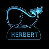 ws1037-0129-b HERBERT Whale Night Light Nursery Baby Kids Name Day/ Night Sensor LED Sign