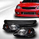 2000 honda civic jdm bumper - AutobotUSA JDM BLK HEADLIGHTS SIGNAL LAMPS AMBER DY+BUMPER GRILL GRILLE ABS 1999-2000 CIVIC