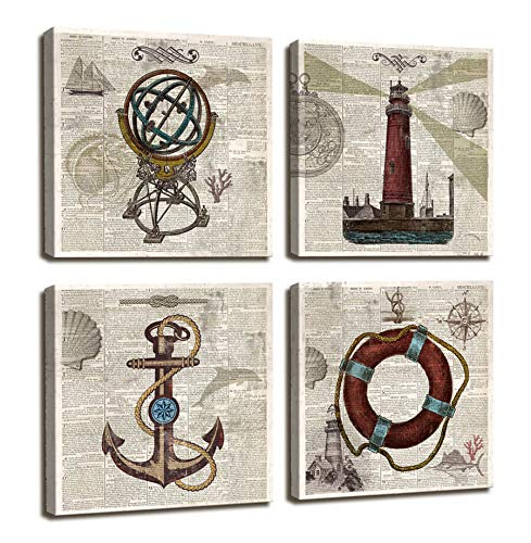 Nautical Decor Beach Wall Art for Bathroom Decorations Vintage Photos Nautical Anchor,Globe,Lifebuoy,Lighthouse Decor Office Wall decor/4 Panel Framed Artwork Wall Pictures For Home Bedroom Wall Decor