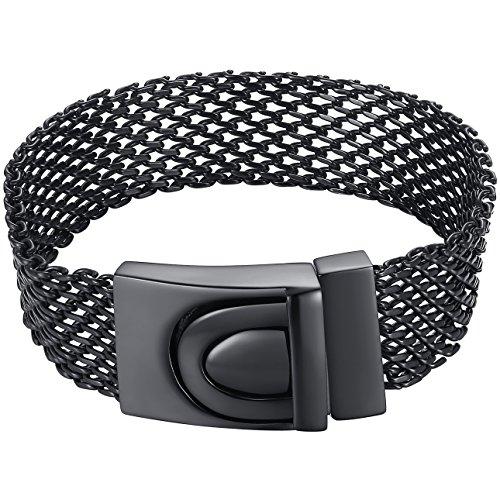 Men's Stainless Steel Black Mesh Chain Belt Style Bracelet, ccb066he