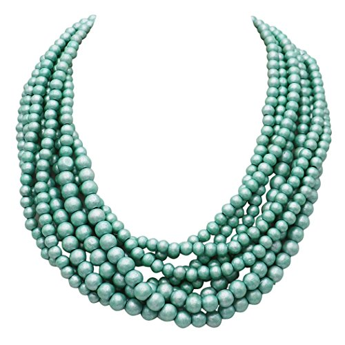 Rosemarie Collections Women's Wooden Bead Multi Strand Statement Bib Necklace (Mint)
