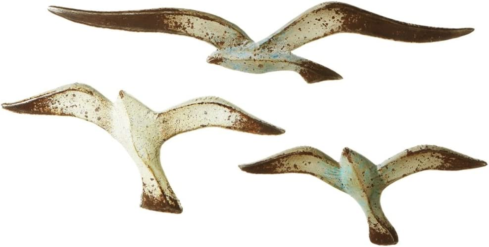 Flying Seagulls Wall Decor Set of 3 Distressed