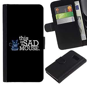 UNIQCASE - Samsung Galaxy S6 SM-G920 - Funny This Is A Sad Mouse - Cuero PU Delgado caso cubierta Shell Armor Funda Case Cover