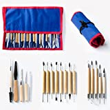 Skilled Crafter Clay Modeling Tools with Roll-Up Case. 18 Double Ended Quality Carvers & Modelers for Sculpting, Modeling, Trimming & Pottery Carving. Best for Sculpey, Polymer, Ceramics, Dough, Wax