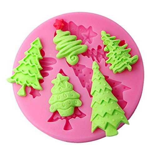 FOUR-C Cake Decor Moulds Christmas Tree Silicone Mold Color Pink
