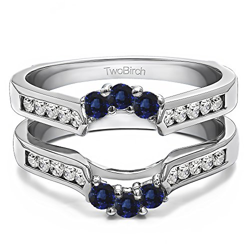 Silver Royalty Inspired Half Halo Ring Guard Enhancer with Diamonds and Sapphire (0.54 ct. twt.) by TwoBirch