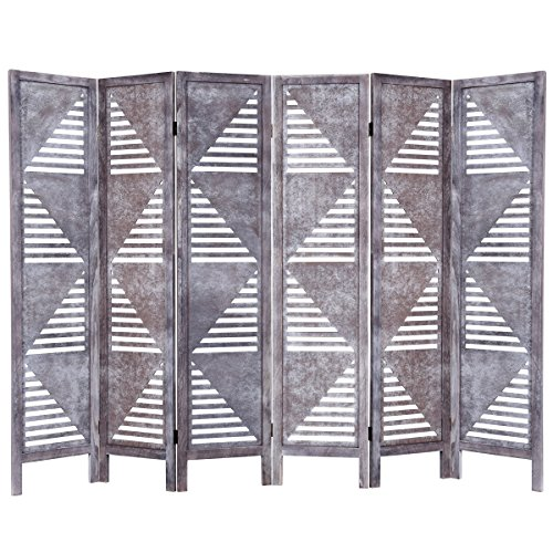 Giantex 6 Panel Screen Room Divider Wood Folding Oriental Freestanding Tall Partition Privacy Screen Room Divider ()