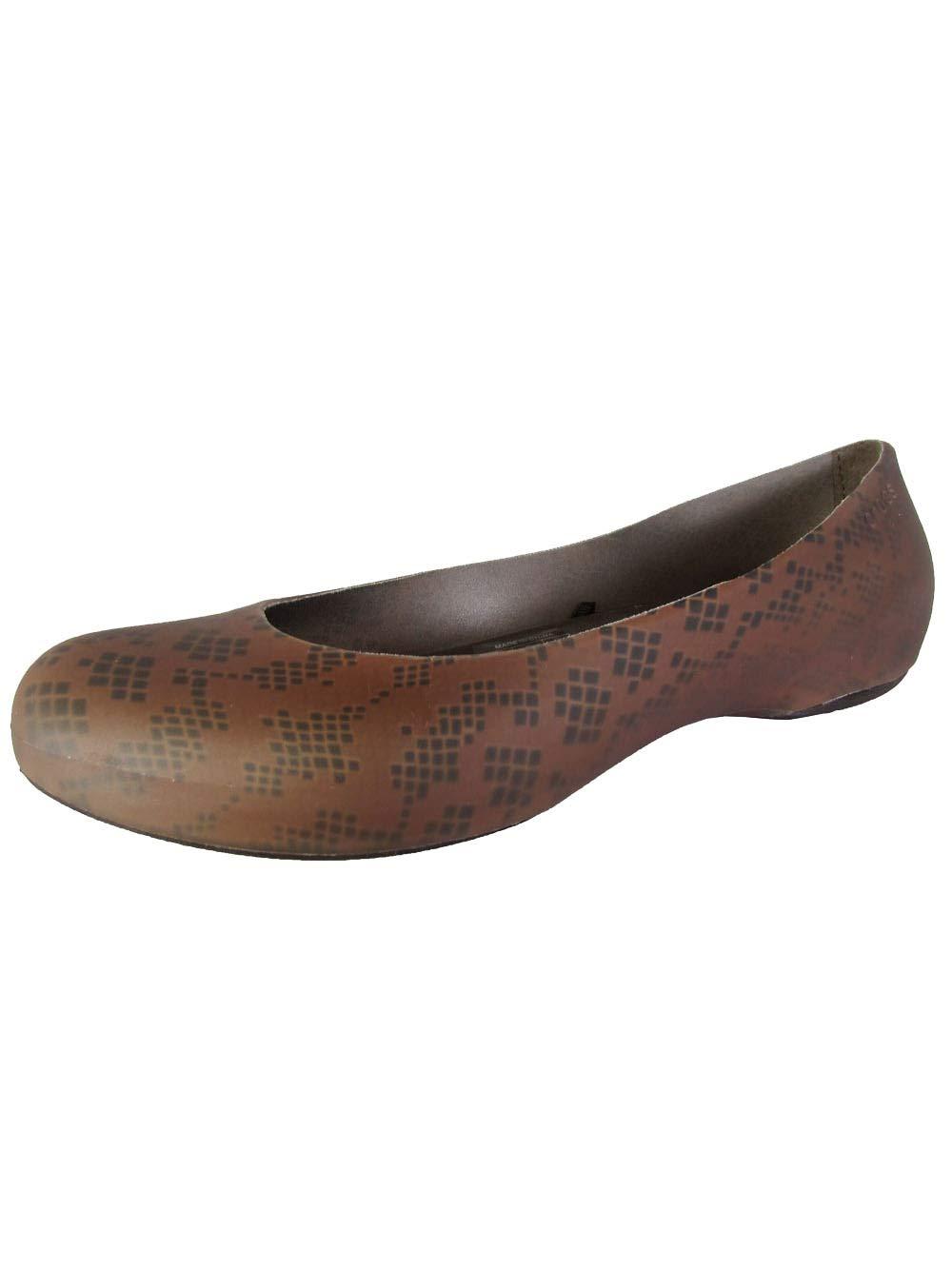 Crocs Women's Thermalucent Snake Flat,Bronze/Espresso,9 M US