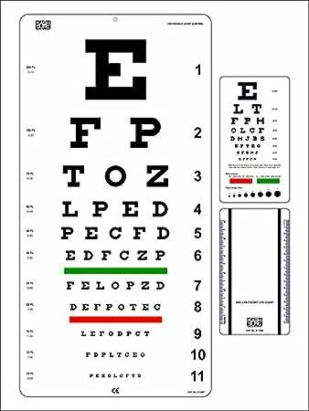 Amazon Snellen Eye Chart 22 X 11 Inch With Snellen Pocket Eye