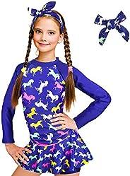 ZukoCert Girls Sunsuit Swimwear Sets Kids Long Sleeve 2 Piece Rash Guard Swimsuits 2-10 Years Surfing Swimsuit