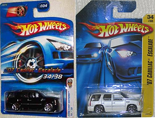 (Set of 2 CADDY ESCALADEs Hot Wheels 2006 First Edition Series Black & White '07 Cadilac Escalade 1:64 Scale Collectible Die Cast Metal Toy Car Model #34/38)