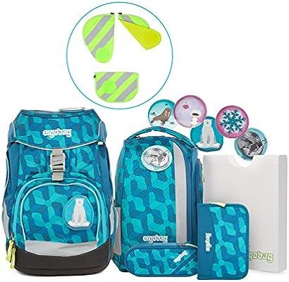 Ergobag Pack de Juego – Juego de mochila de 6 piezas, incluye kit de seguridad con reflector rayas 3 piezas. Hielo zau oso