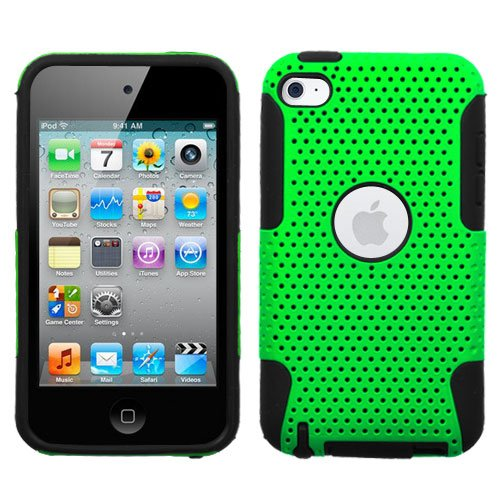 iPod Touch 4 Case, Bastex Hybrid Soft Black Silicone Cover Hard Neon Green Mesh Design Case for iPod Touch 4