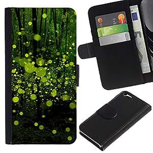 """Apple (4.7 inches!!!) iPhone 6 , la tarjeta de Crédito Slots PU Funda de cuero Monedero caso cubierta de piel ("""" Green Bubbles Abstract Forest Nature"""")"""