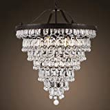 Restaurant chandelier American retro creative iron bedroom study lamp 6 Lights simple modern living room crystal chandelier glass chandelier chandelier lighting?Antique Bronze Metal CZ2532AB For Sale