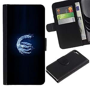 JackGot ( Water Dragon ) Apple iPhone 5 / iPhone 5S la tarjeta de Crédito Slots PU Funda de cuero Monedero caso cubierta de piel