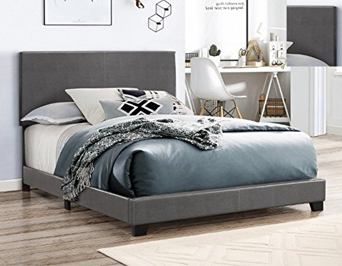 Crown Mark 5271PUGY-T Erin Upholstered Bed, Twin, (Asian Headboard)