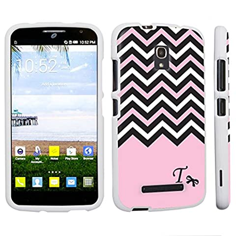 DuroCase Alcatel One Touch POP Mega LTE A995G Hard Case White - (Black Pink White Chevron T) (Alcatel A995g Wallet Case)
