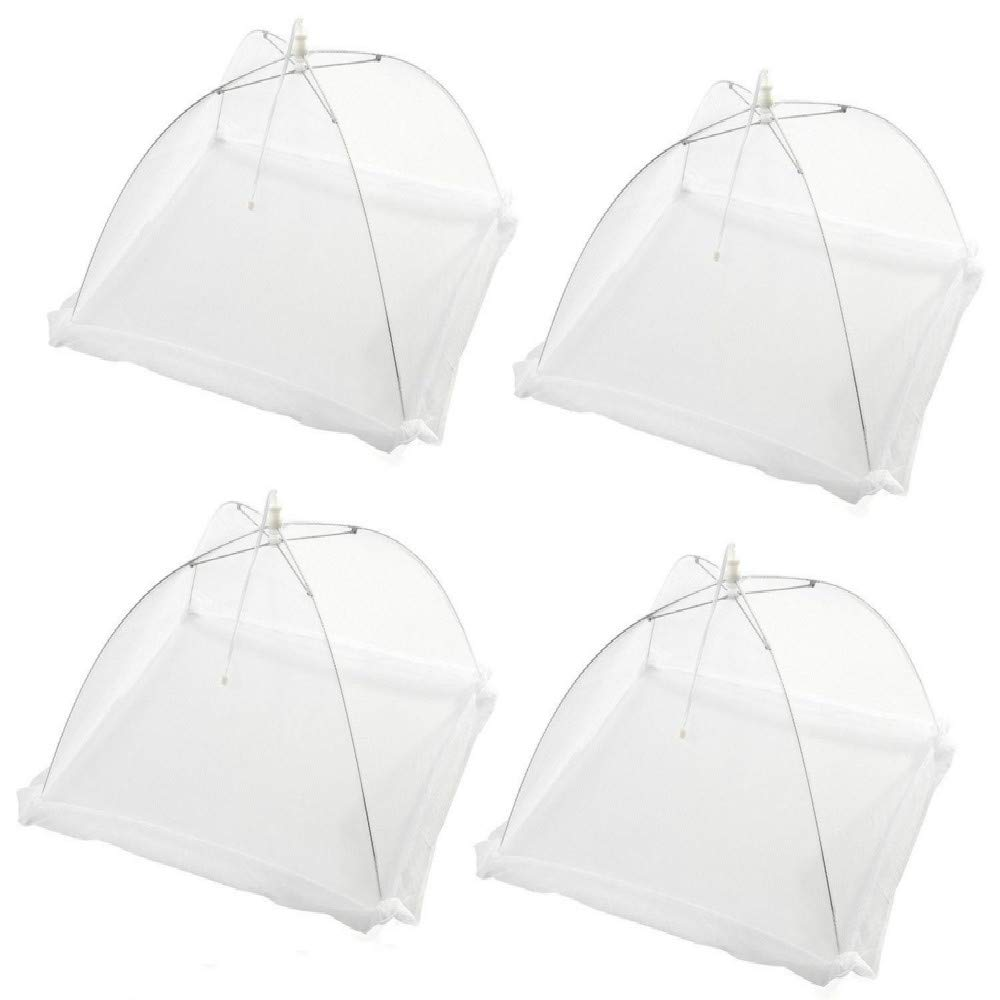 Pingenaneer 4 Pack Food Cover Tent 17 Large Size Collapsible Pop-up Mesh Covers Protect Your Food and Keep Out Flies, Bugs, Mosquitoes Ideal for Use Both Indoor and Outdoor