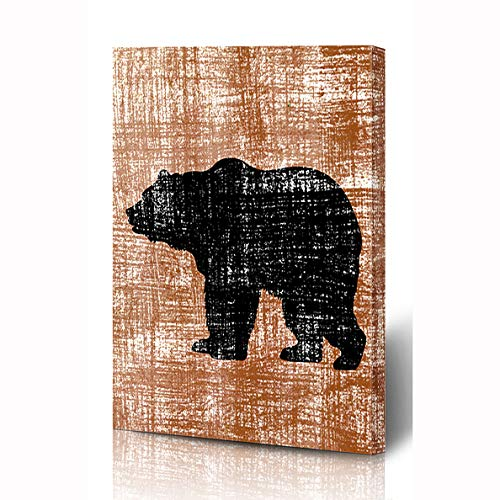 (Ahawoso Canvas Prints Wall Art 12x16 Inches Spoiled Brown Aging Bear On Old Graphic Wildlife Yellow Antique Burnt Canvas Clip Wooden Frame Printing Home Living Room Office Bedroom)