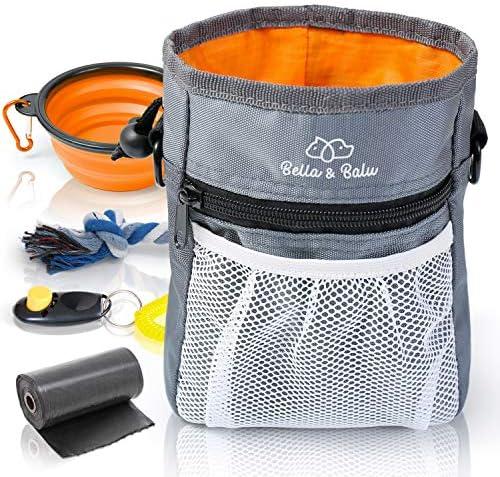 Bella & Balu Borsa Addestramento Cane con Cinturino (Ciotola Pieghevole+Clicker+Corda Gioco+Sacchetti igienici)–Borsa Cibo Cani (Arancione)