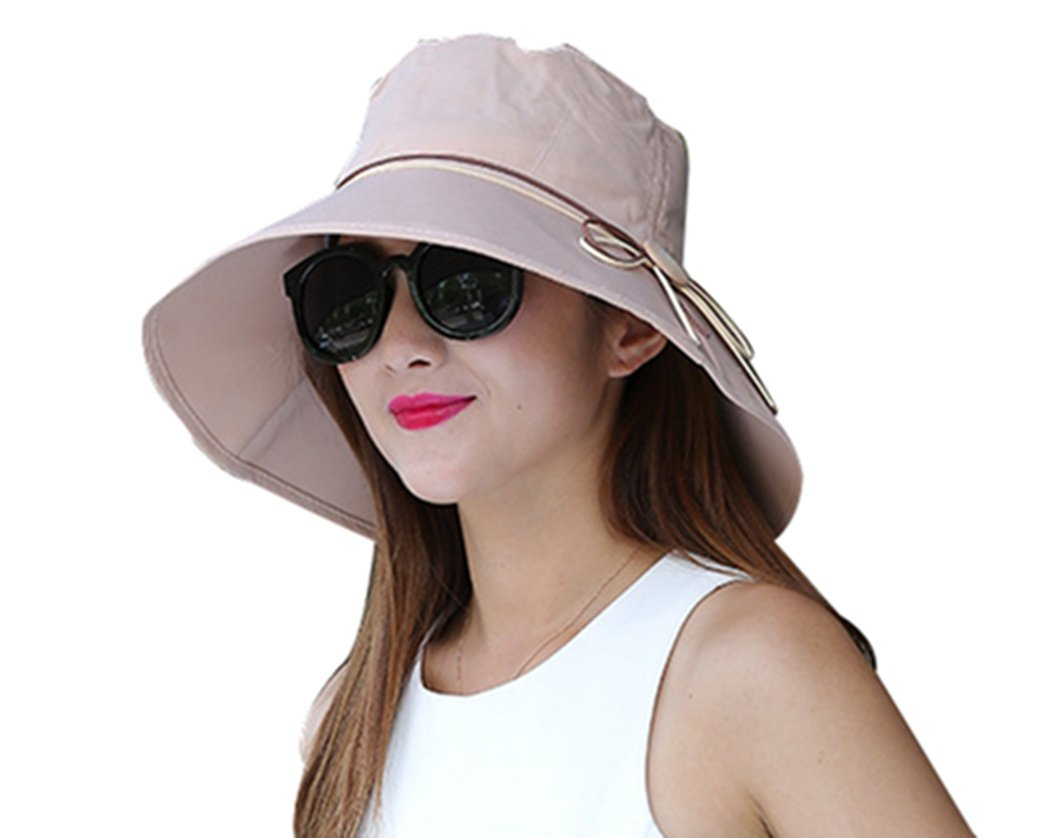 Kafeimali Women's Sun Hat Summer Beach Hat Foldable Wide Brim Bucket travel Cap (Khaki)